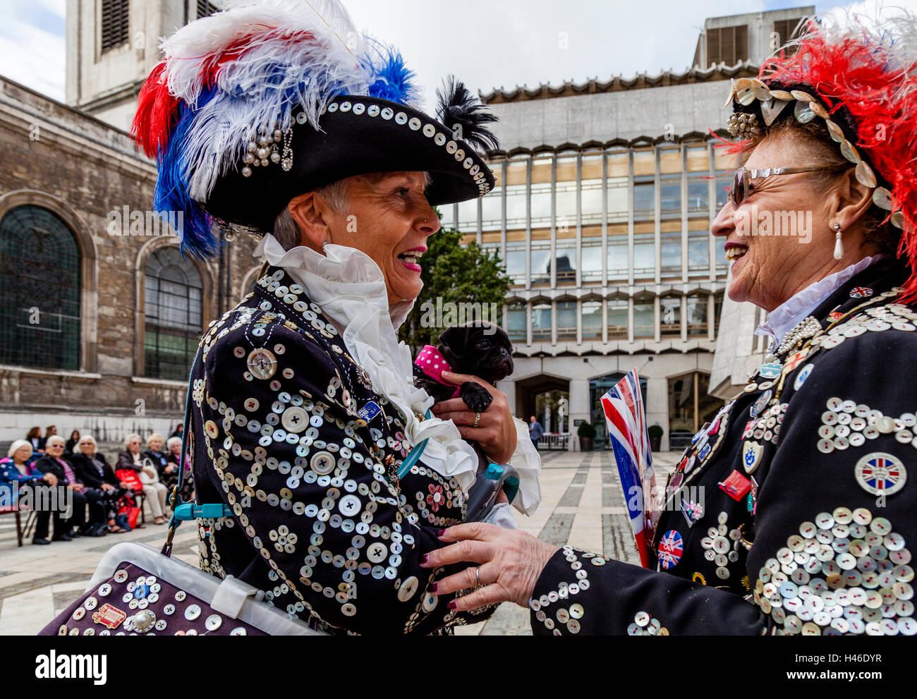 The Pearly Kings and Queens' Harvest Festival, Held Annually At The Guildhall Yard, London, England - Stock Image