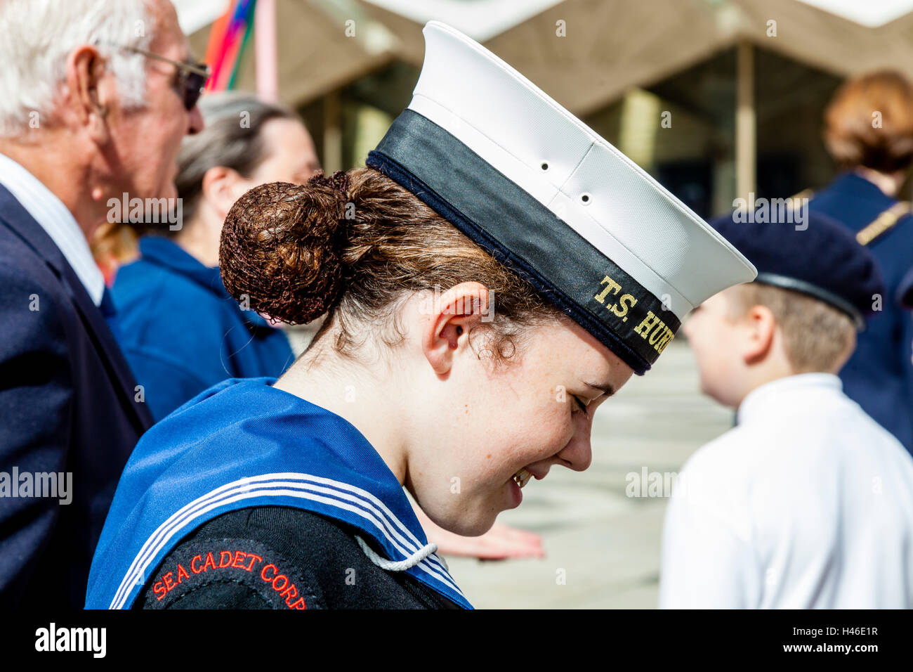 A Young Female Sea Cadet At The Pearly Kings and Queens' Harvest Festival, Held Annually At The Guildhall Yard, - Stock Image