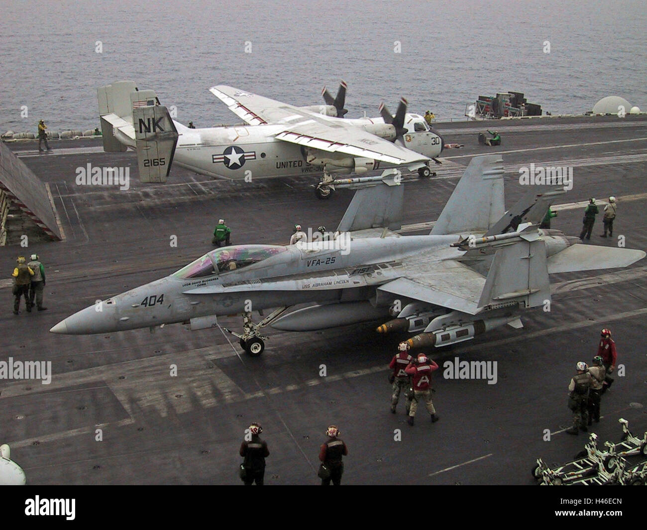 22nd March 2003 Operation Iraqi Freedom: aircraft about to take off from the USS Abraham Lincoln in the Persian - Stock Image