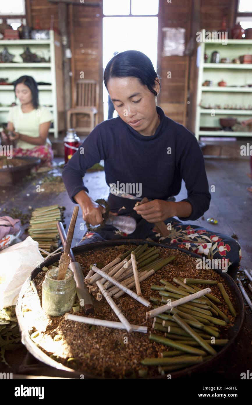 Myanmar, Burmese rotates cigars, Stock Photo
