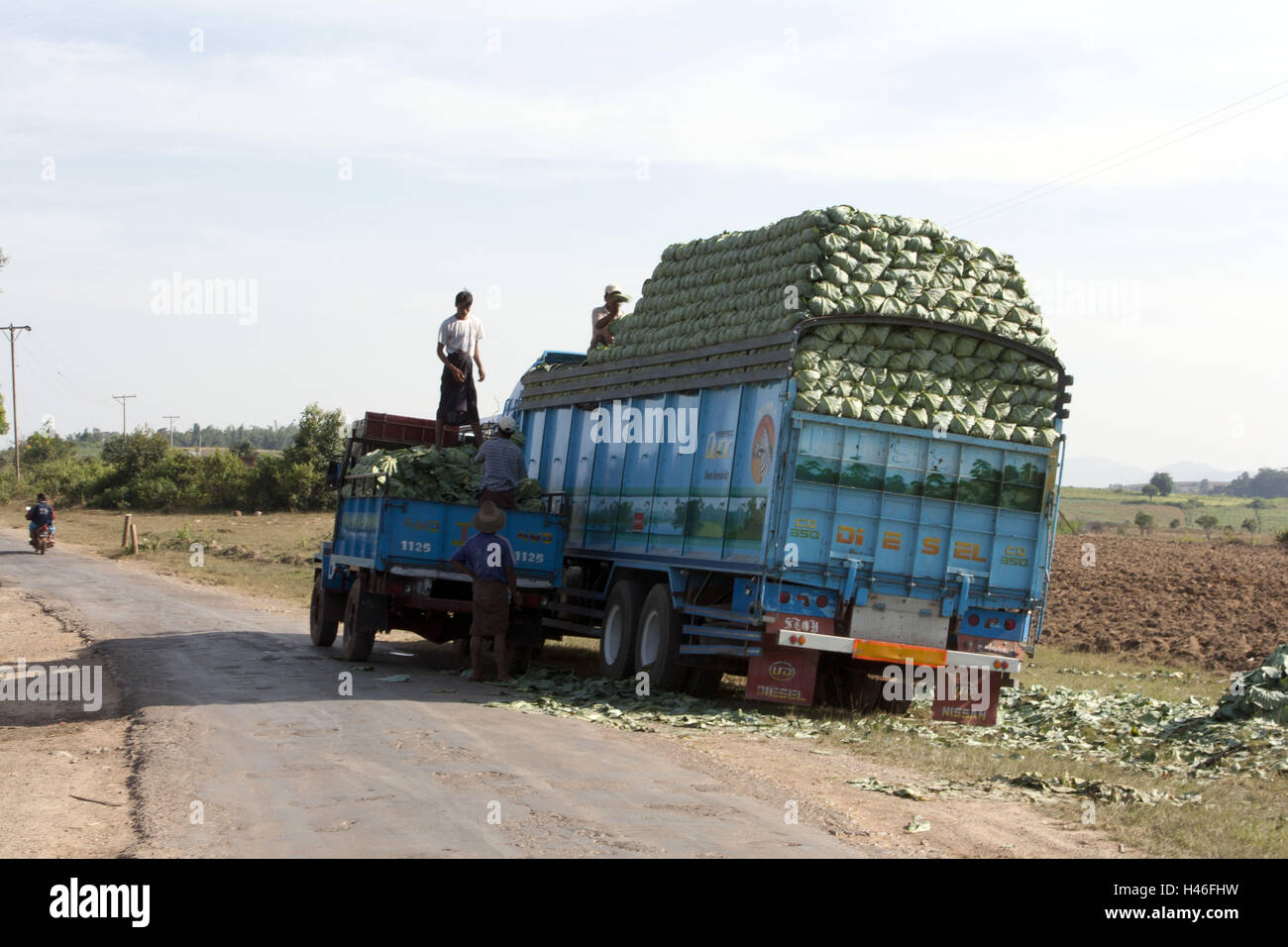 Myanmar, charged truck, - Stock Image