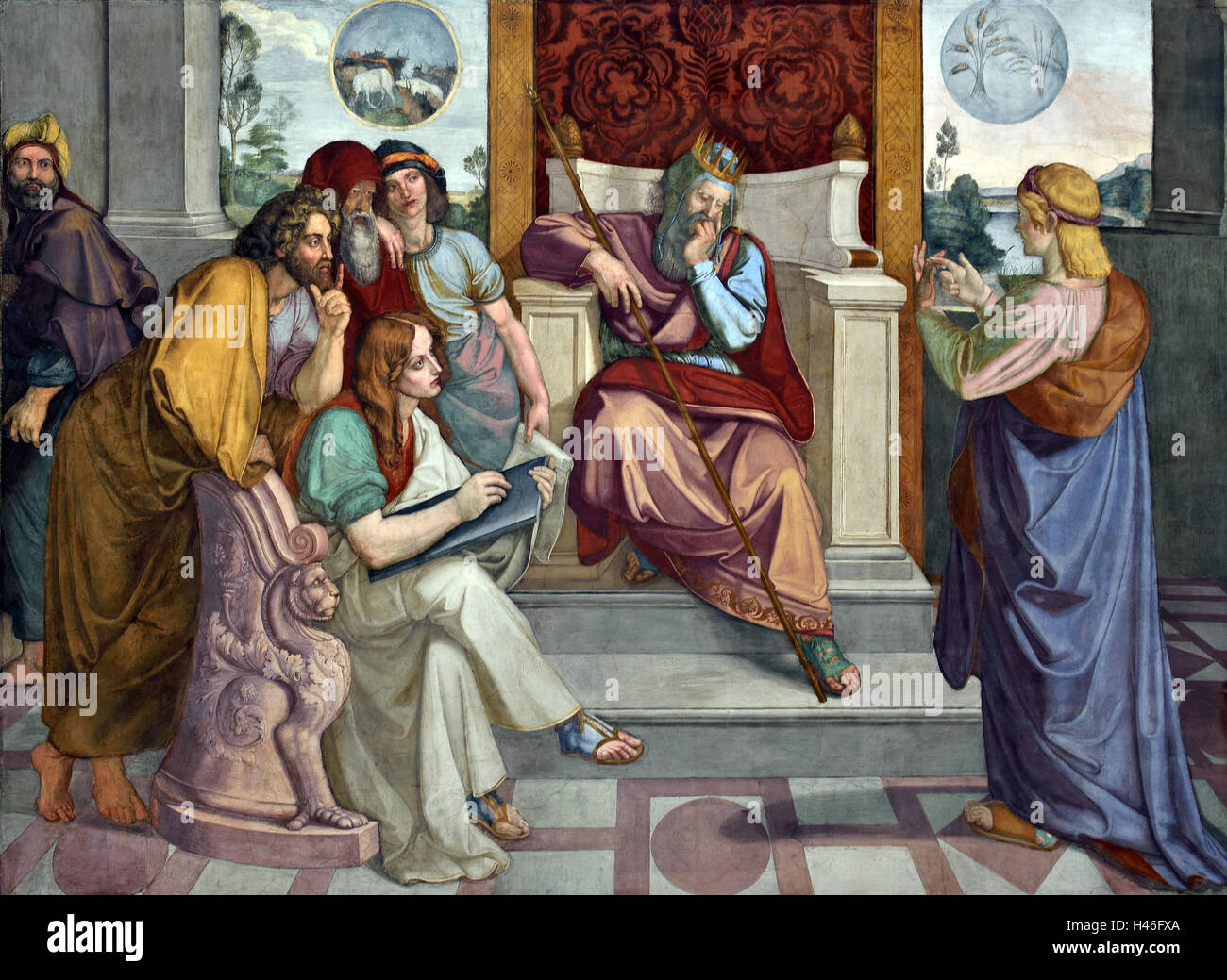 Joseph interprets the dreams of Pharaoh. Wall paintings from the eight-part cycle from Casa Bartholdy in Rome Italy - Stock Image