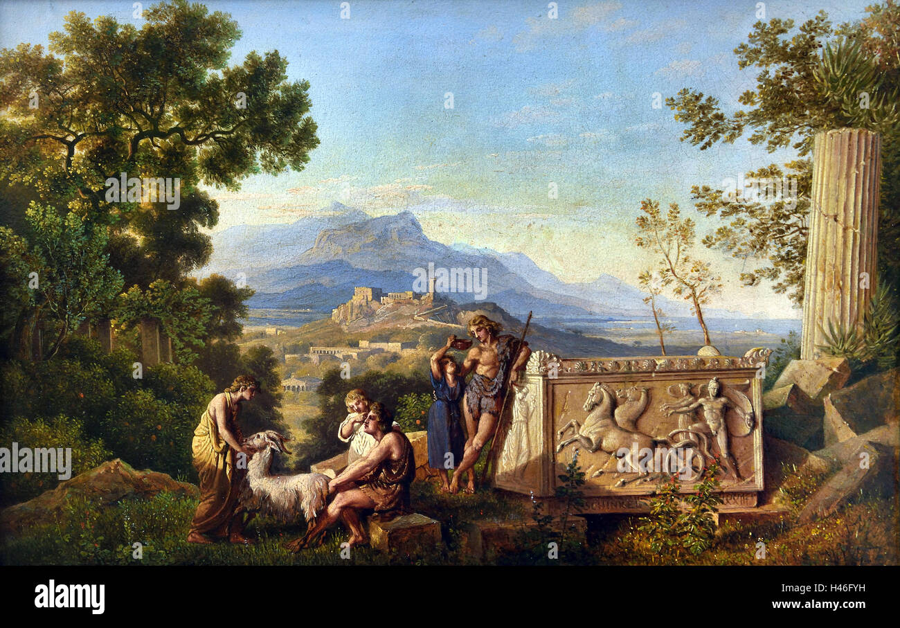 Greek Fantasy Landscape with Resting Shepherd 1823 Karl Friedrich Schinkel 1781-1841 German Germany - Stock Image