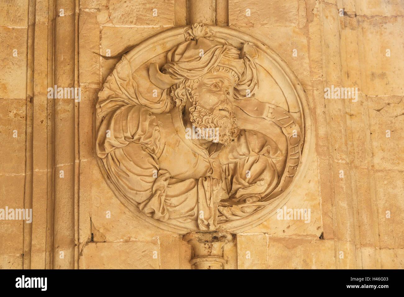 Bas relief of the Prophet Ezekiel in the Cloister of the Convento de San Esteban, a Dominican monastery in Salamanca, - Stock Image