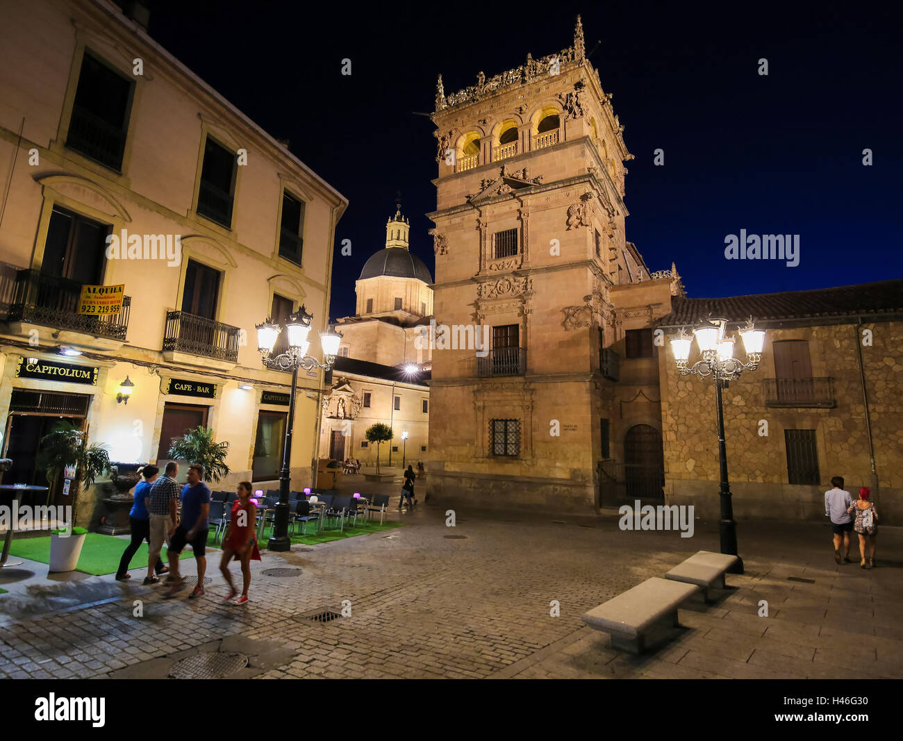 Night view on the illuminated Palacio de Monterrey in Salamanca, Spain, one of the prime examples of the Plateresque Stock Photo