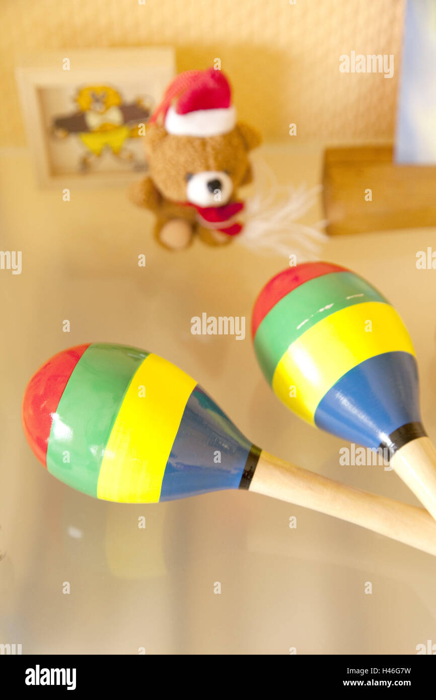 Rattles, indoors, toy, playing, symbol, therapy, therapeutic appliance, rattling, rhythm, colorful, striped, Stock Photo
