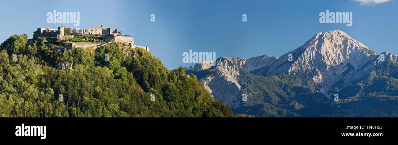 Austria, Carinthia, Villach, Landskron Castle, Mittagskogel, Karavanks, Stock Photo