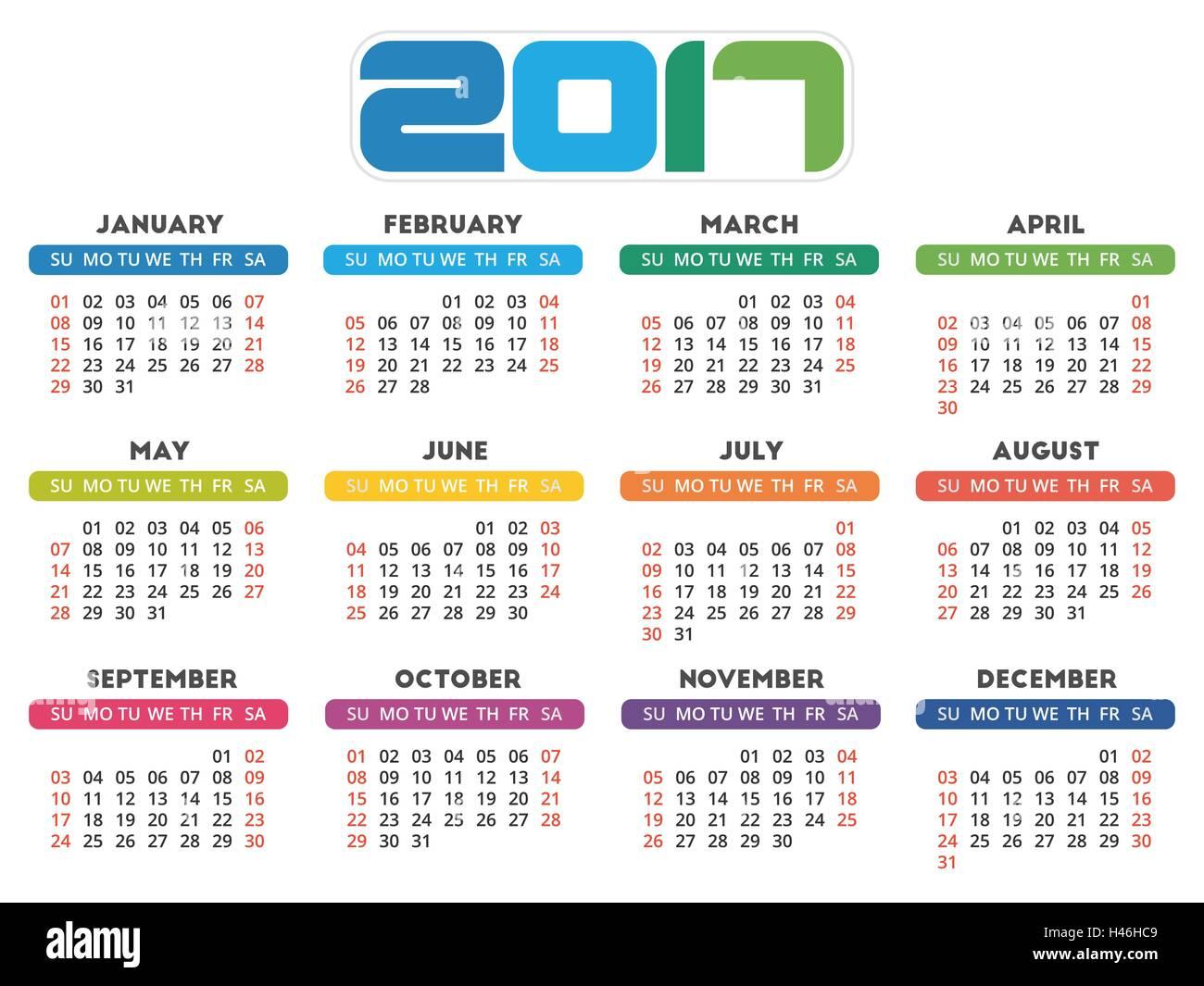 Calendar 2017 design week starts on sunday stock vector for Design week 2017