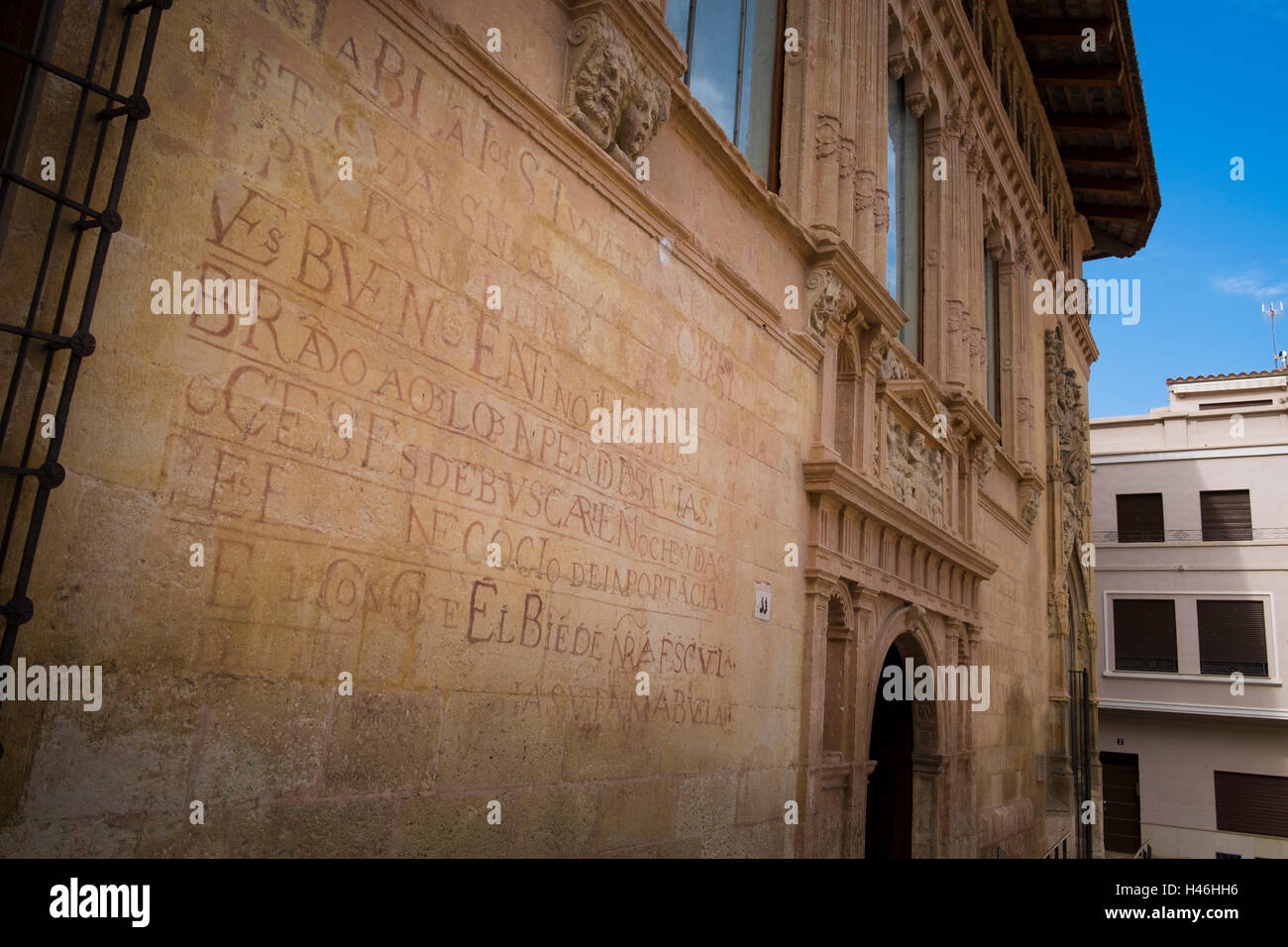 Writings on the wall of the Hospital Reial in the Plaza de Calixto lll Xativa - Stock Image