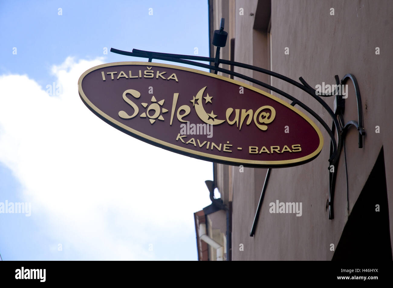 Lithuania, Vilnius, Old Town, bar, in Italian, detail, sign, - Stock Image