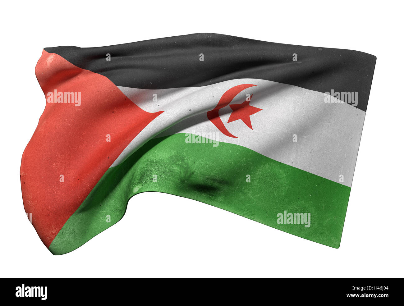 3d rendering of an old and dirty Sahrawi Arab Democratic Republic flag waving - Stock Image