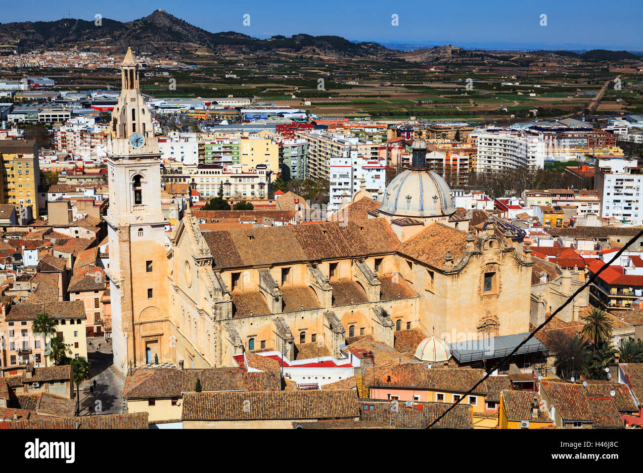 High view of Colegiata Basilica de Santa Maria in Xativa Spain Stock Photo