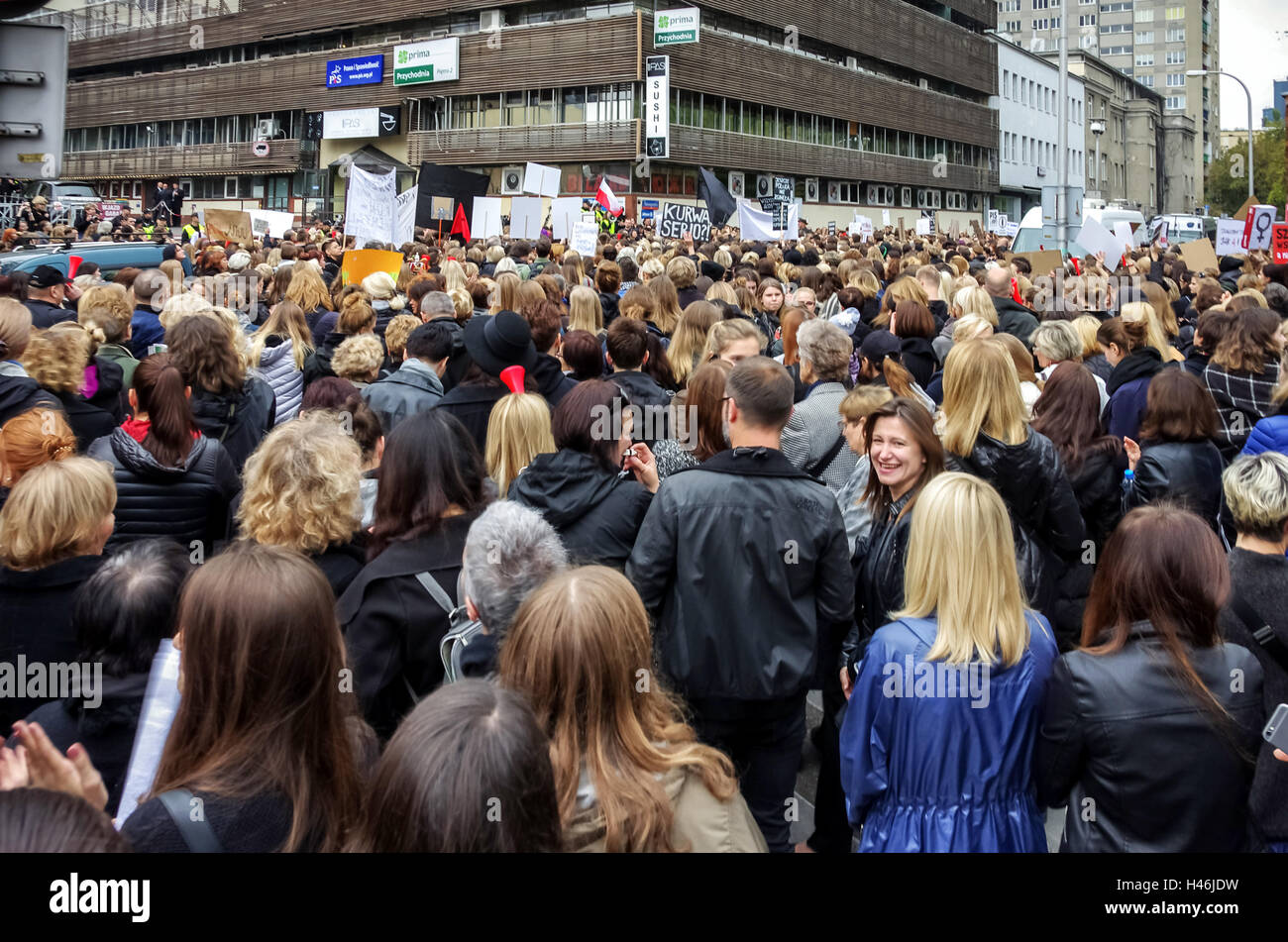 Warsaw, Poland. 03rd October, 2016. Black Protest - Demonstration against more restrictive abortion law regulations - Stock Image