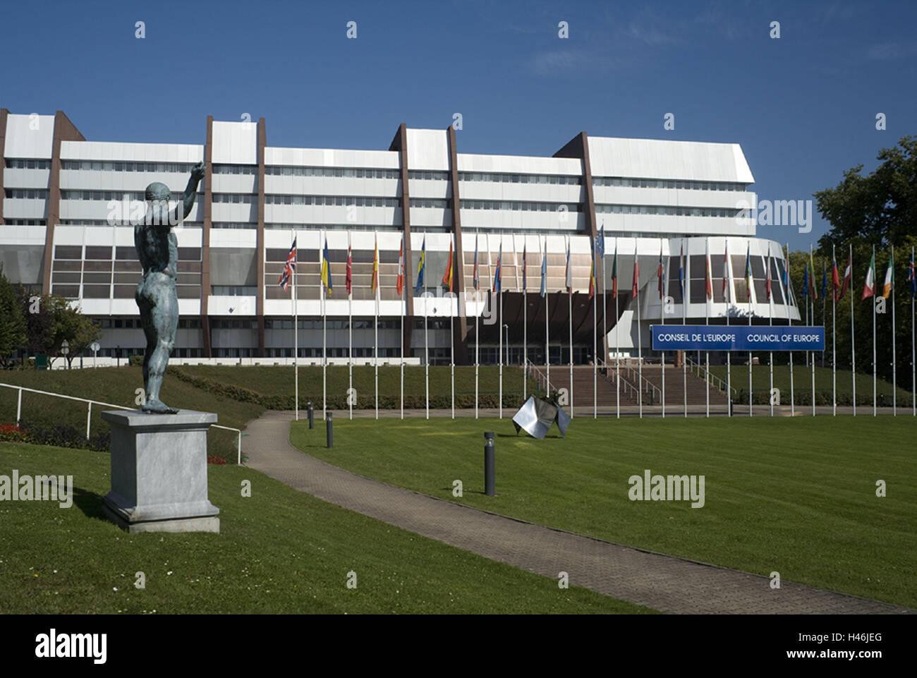France, Alsace, Strasbourg, European Parliament, flags, buildings, architecture, European Parliament, parliament, - Stock Image