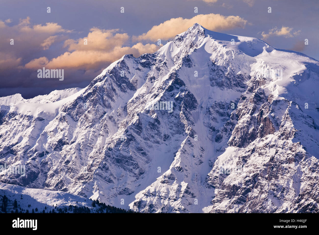 Italy South Tyrol Mountain Landscape Snow Ortler North Face