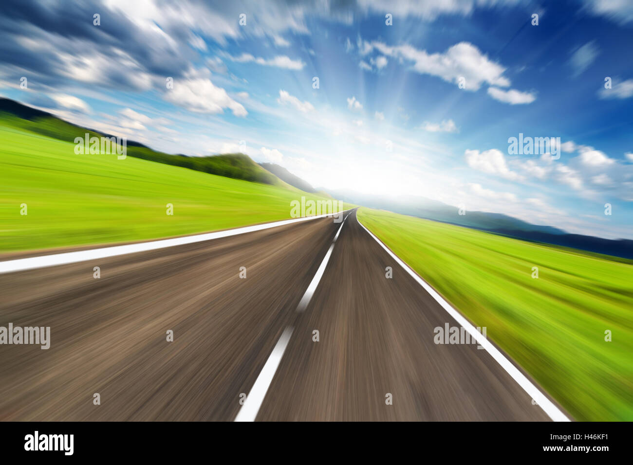 Empty road with motion blur - Stock Image