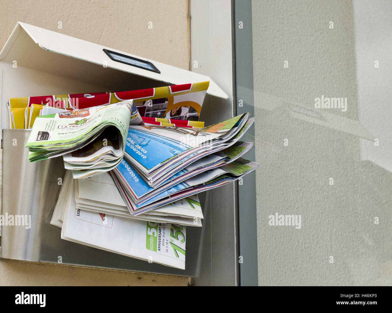 Mailbox, brochures, Italy, Liguria, - Stock Image