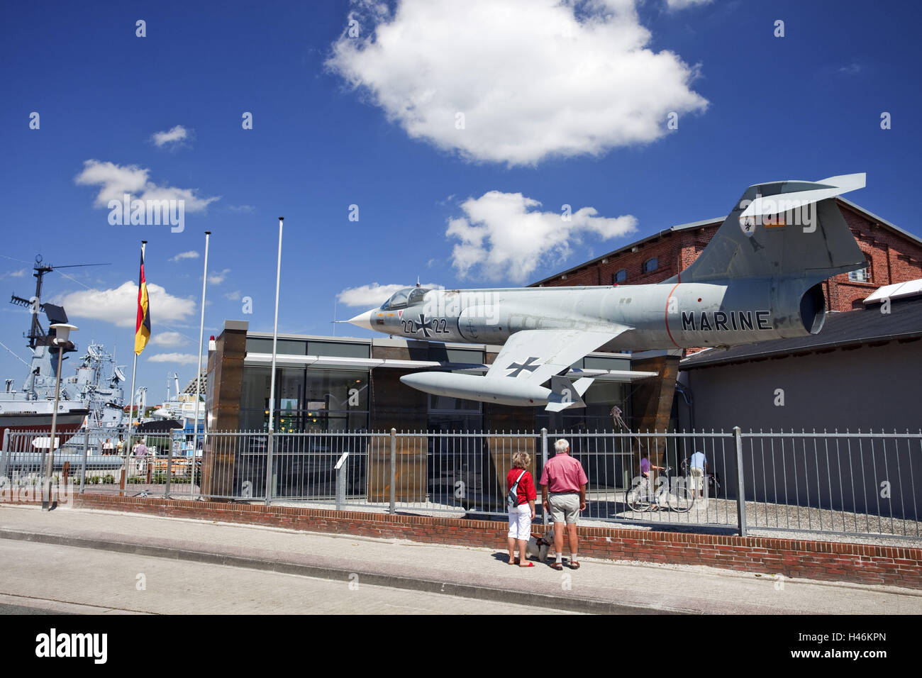 Germany, Wilhelmshaven, marine hunt powerful striker F-104G, German naval museum on the south beach Wilhelmshaven, Stock Photo