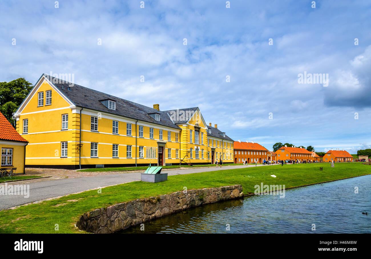 Houses at Kronborg Castle in Elsinore - Denmark - Stock Image