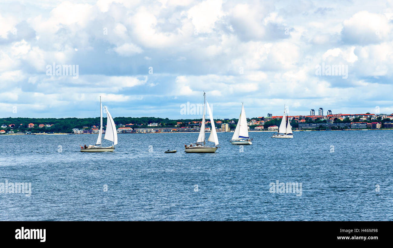 Yachts in Oresund Strait between Helsingor and Helsingborg, Denmark - Sweden - Stock Image