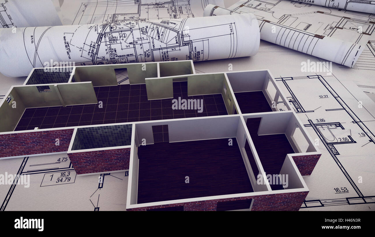 3d rendering of architect workplace architectural project stock 3d rendering of architect workplace architectural project blueprints blueprint rolls on plans malvernweather Image collections