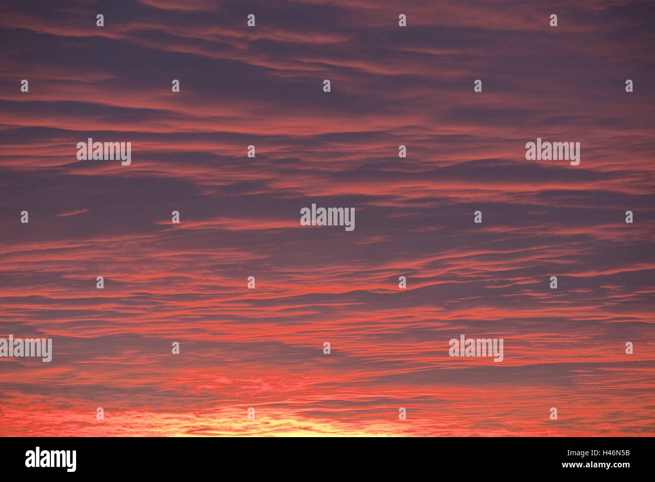 Heaven, evening mood, evening heaven, afterglow, red, redness, mood, clouds, sundown, - Stock Image