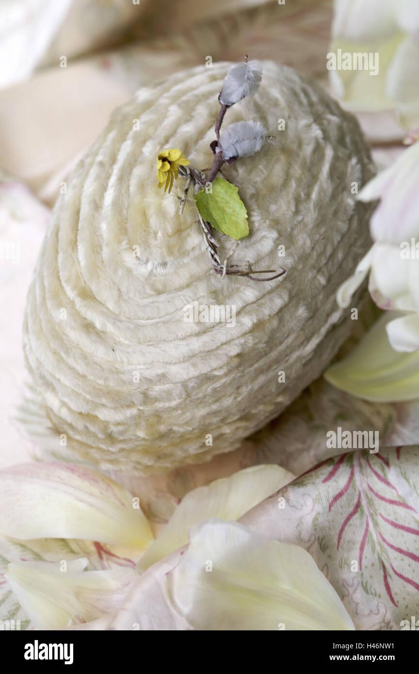 Easter egg, velvety, decoration, petals, - Stock Image