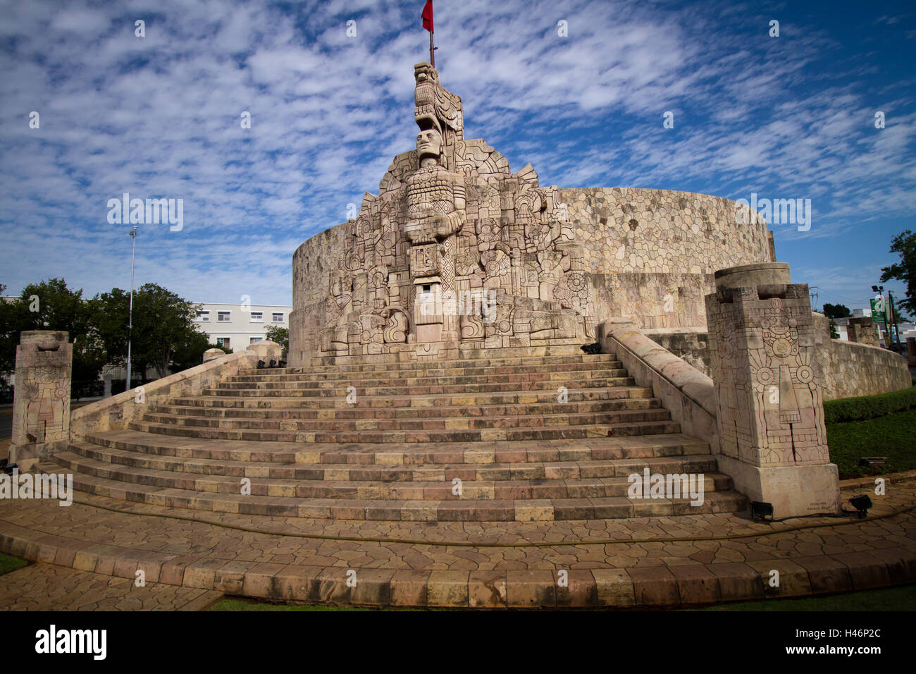 monument in merida in mayan style - Stock Image