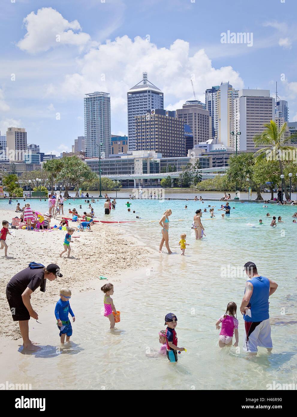 Australia, Queensland, Brisbane, beach swimming area, tourists, - Stock Image