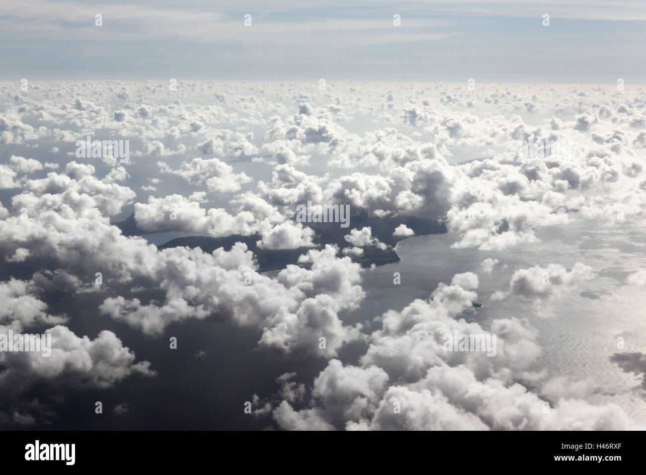 Indian Ocean, aerial shot, approach on the Seychelles, - Stock Image