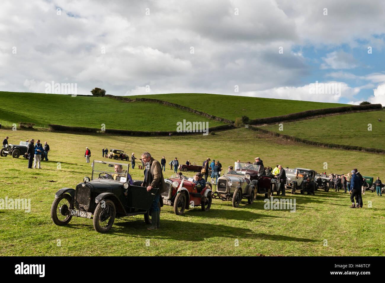 Cwm Whitton, near Knighton, Powys, UK. An annual rally of the VSCC (Vintage Sports-Car Club) has taken place here - Stock Image