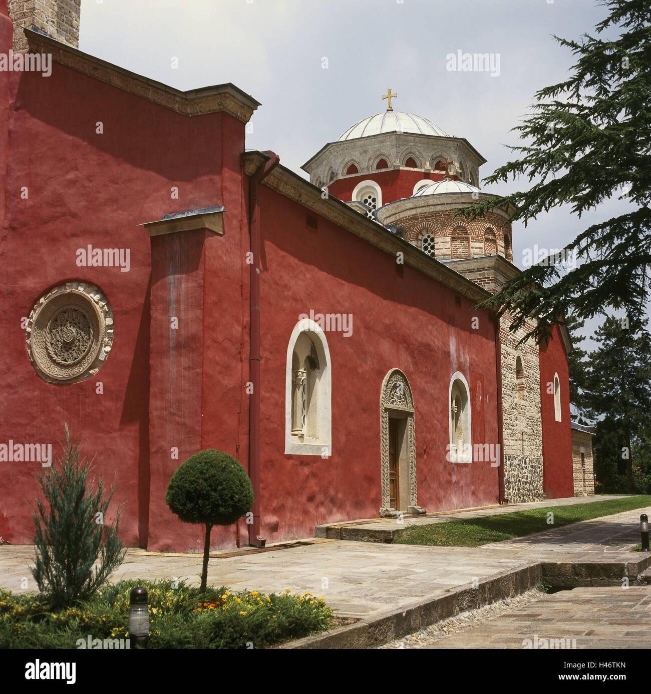 Serbia, Kraljevo, cloister Zica, detail, place of interest, faith, religion, Christianity, building, structure, architecture, cloister building, architectural style, Serbian-orthodox, outside, deserted, Stock Photo