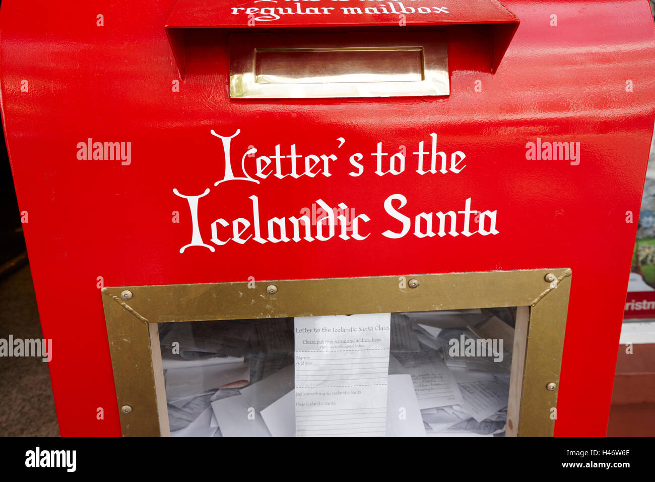 letters to the icelandic santa postbox in reykjavik Iceland - Stock Image