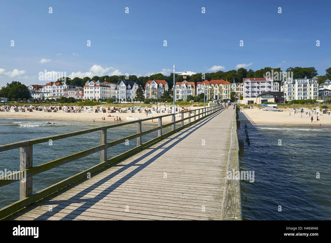 Pier, Baltic Sea resort of Bansin, Usedom, Mecklenburg Western Pomerania, Germany Stock Photo