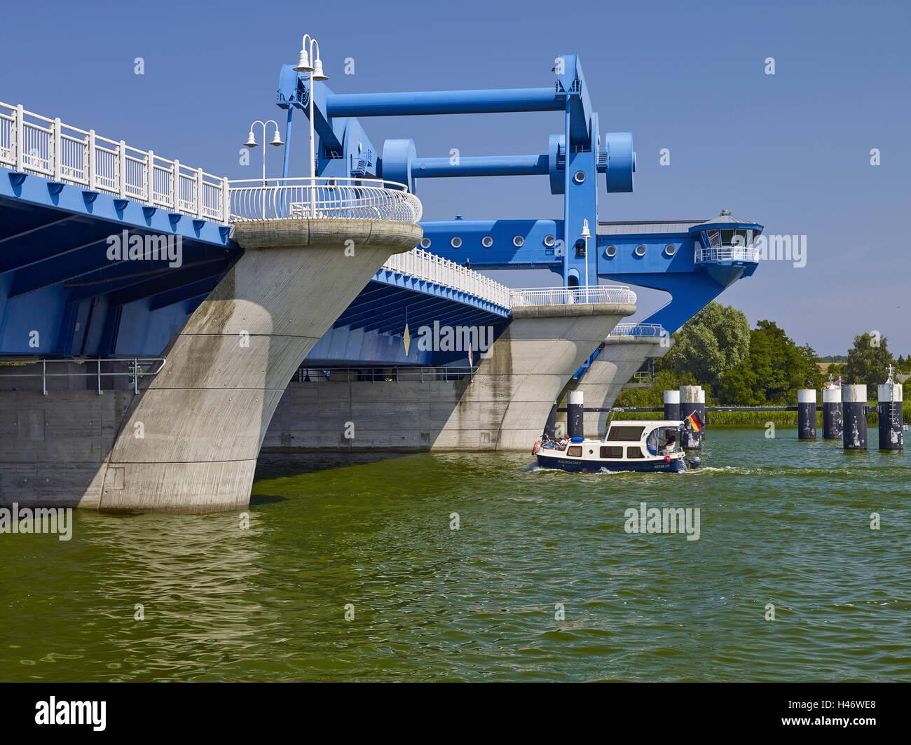 Bascule bridge over the Peene river, Wolgast, Mecklenburg-Western Pomerania, Germany - Stock Image