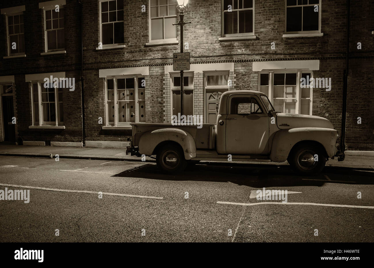 Parked Pickup Truck Stock Photos Images 1950 S Ford Long Bed An Old 1950s Chevrolet In A Victorian Street South London At Night