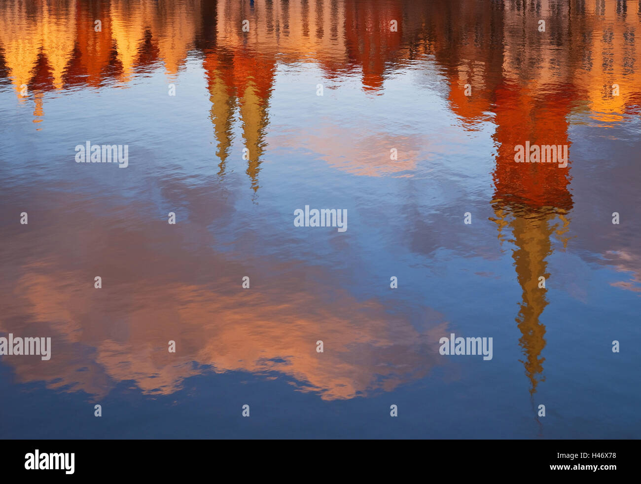 Germany, Lübeck (city), Trave District, Water Reflection, - Stock Image