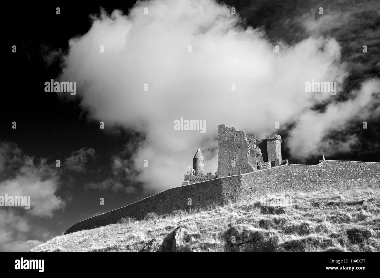 Ireland, rock Cashel, b/w, , - Stock Image