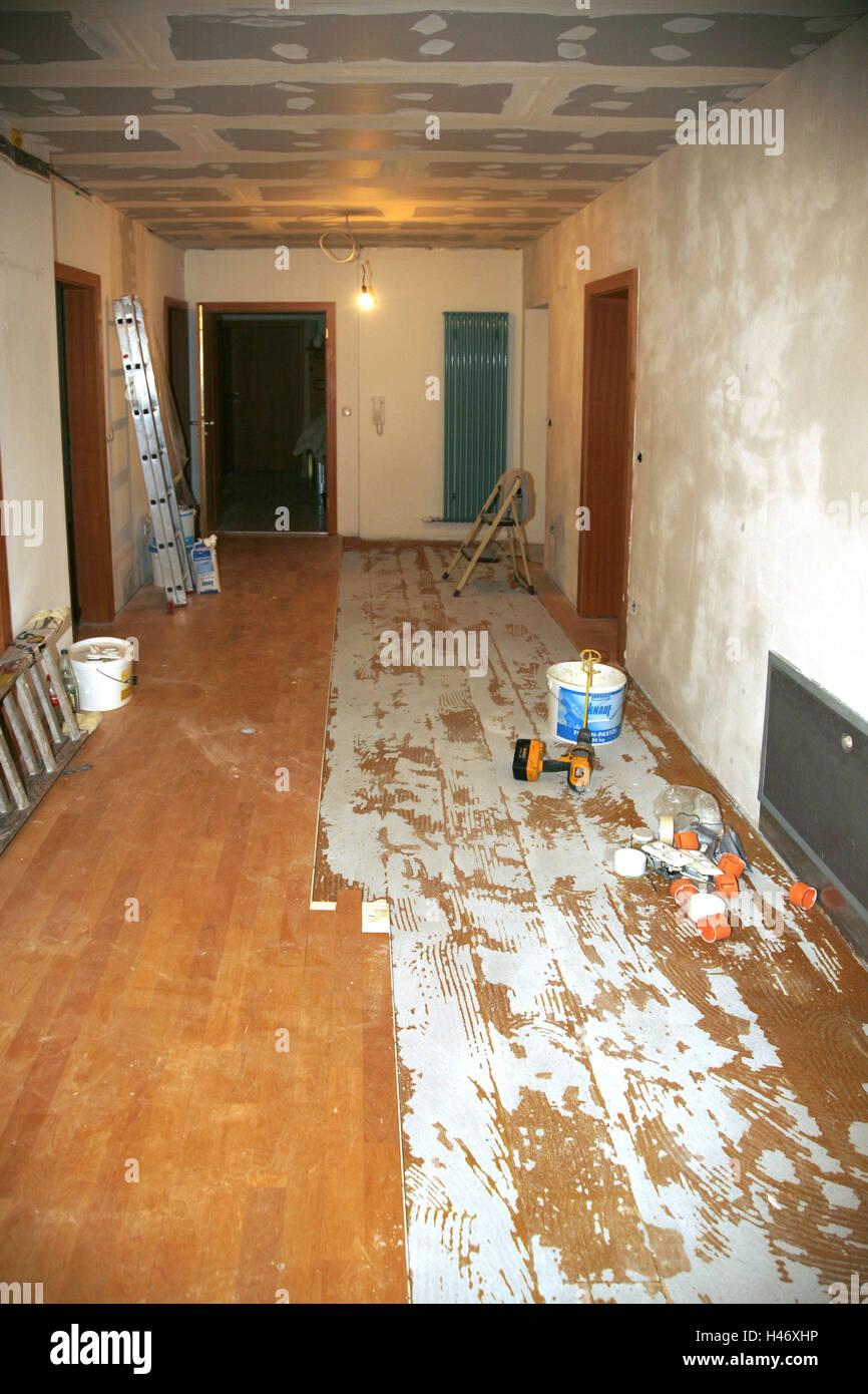 Flat, water damage, hall, repair, insurance, property insurance, damage, household effects insurance, insurance - Stock Image