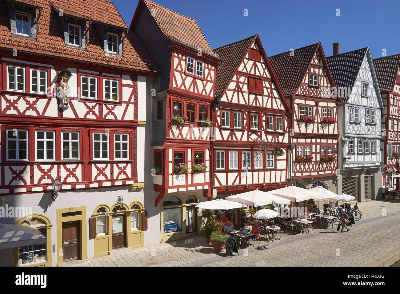 Half-timbered houses in Ochsenfurt, Lower Franconia, Bavaria, Germany Stock Photo