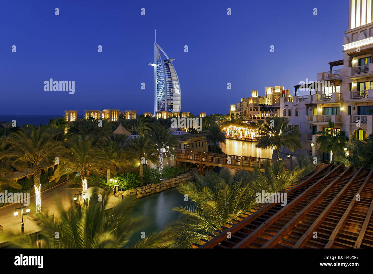 Burj Al Arab and Medinat hotels, 7 stars hotel, Jumeirah, Dubai, United Arab Emirates, - Stock Image