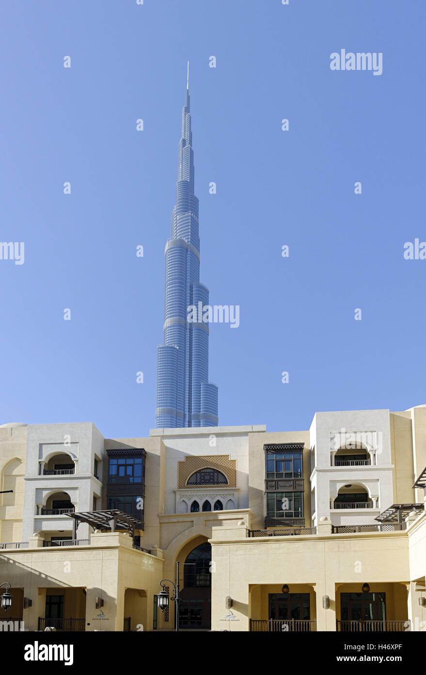 Souk Al Bahar and Burj Khalifa, Downtown Dubai, Dubai, United Arab Emirates, - Stock Image