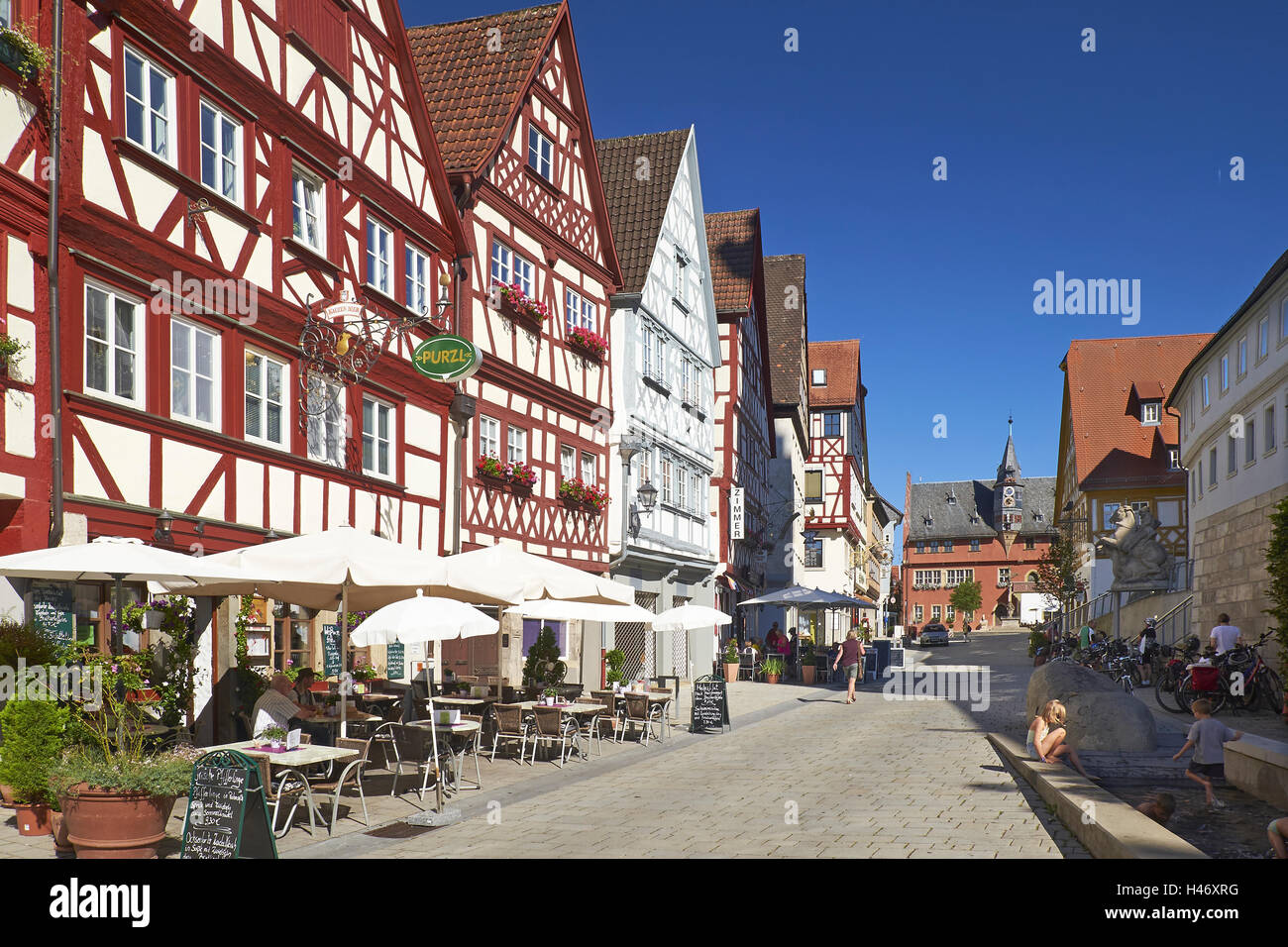 Half-timbered houses with town hall in Ochsenfurt, Lower Franconia, Bavaria, Germany Stock Photo