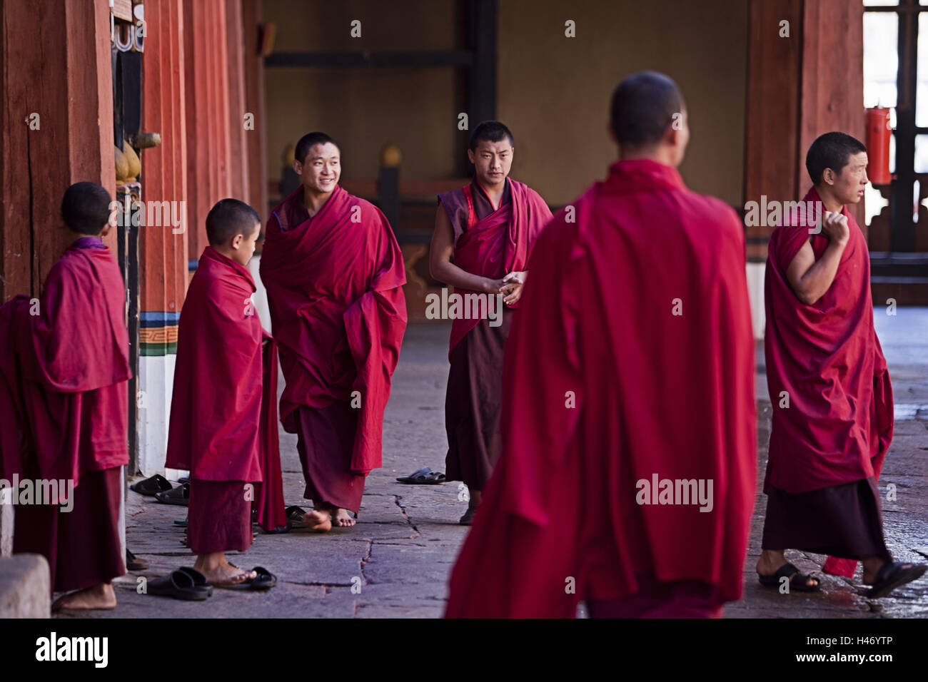 Kingdom Bhutan, monks in the Paro Dzong, Stock Photo