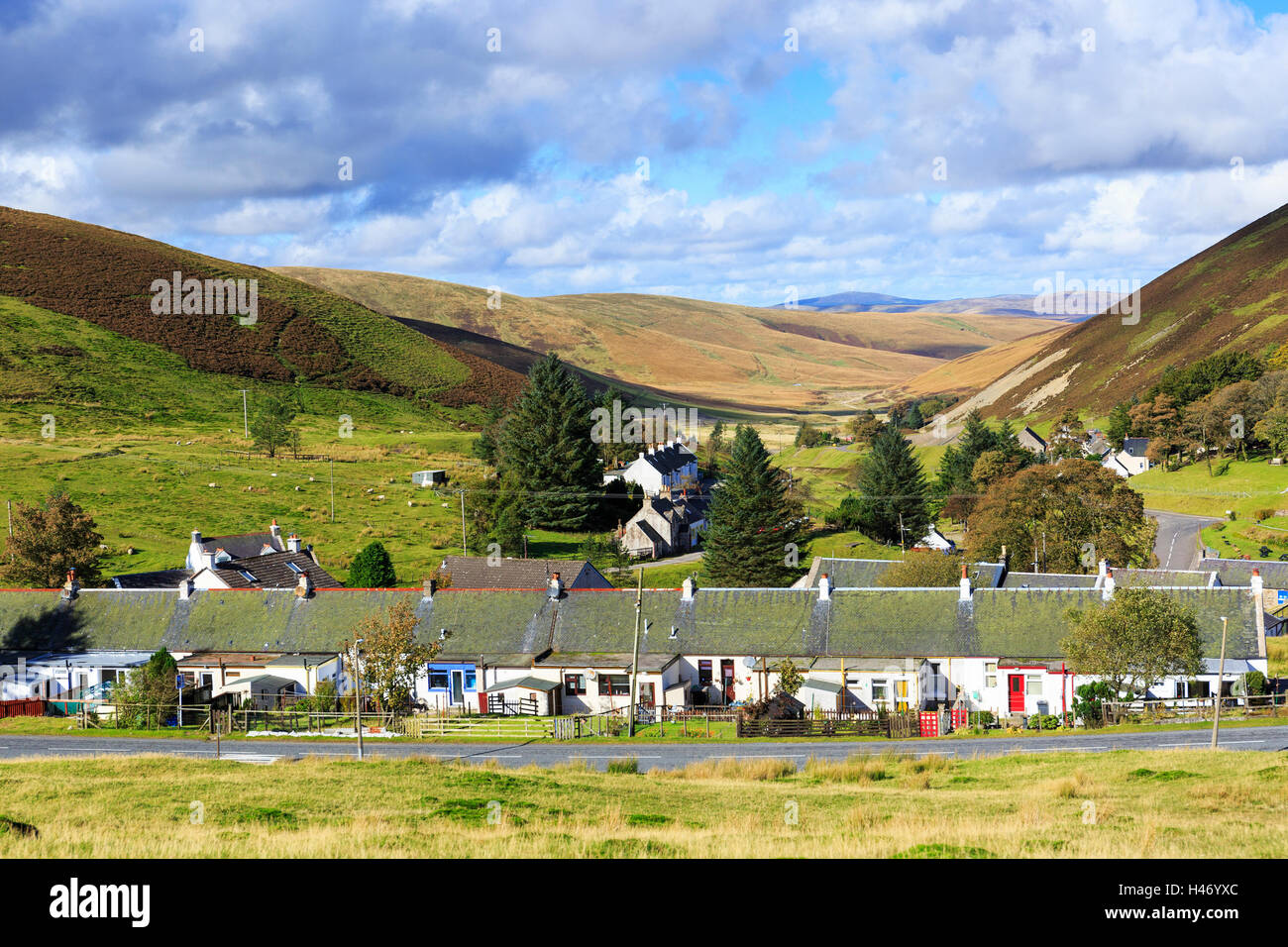 Village of Wanlockhead, Dumfrieshire, the highest village in Scotland, 1531 feet above sealevel, and famous for - Stock Image