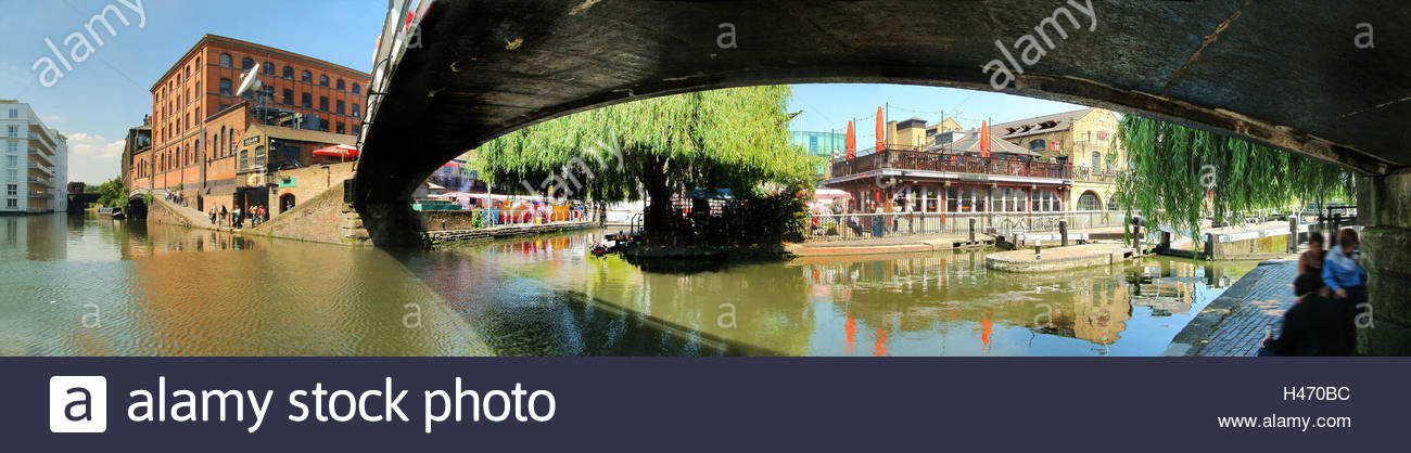 England, London, Camden Town, Regent Canal, Associated Press, Camden Lock Market, Hilton Hotel in Camden, - Stock Image