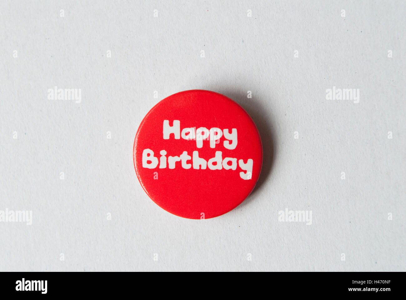 Happy birthday pin badge from either 1970s or 1980s HOMER SYKES - Stock Image