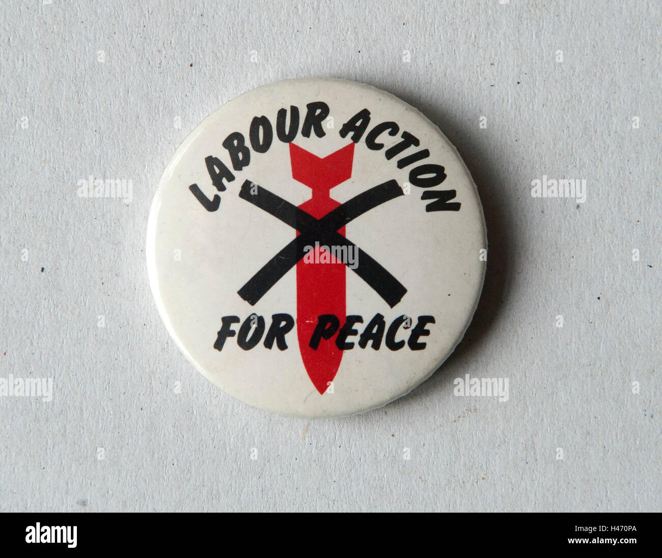 Labour Action for Peace pin badge 1980s HOMER SYKES - Stock Image