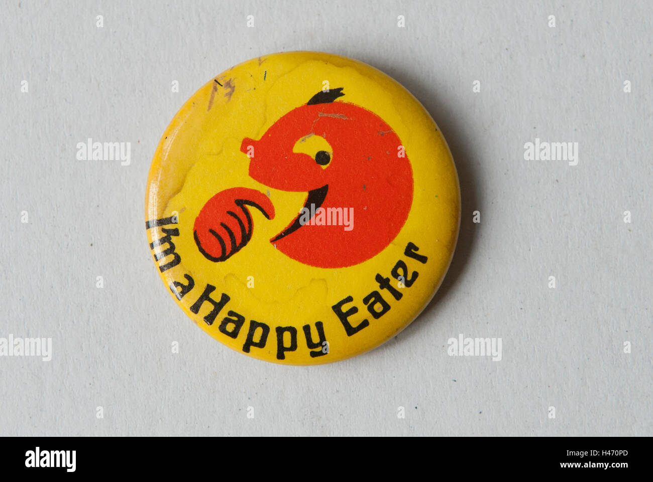 I'm a Happy Eater pin button badge HOMER SYKES - Stock Image