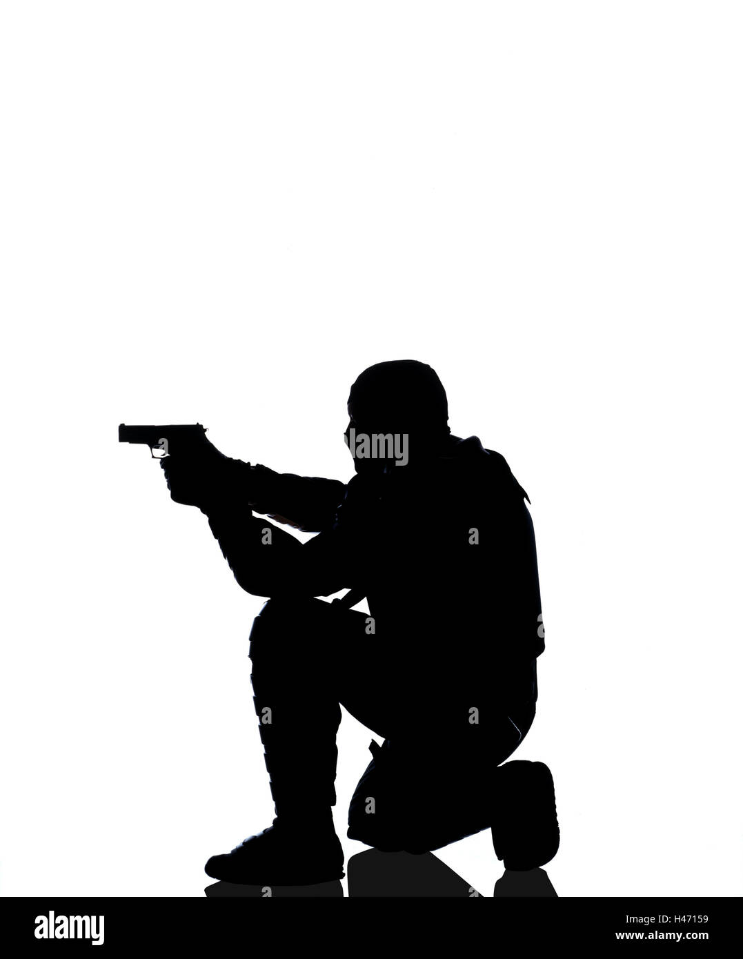 Policeman, protective clothing, shooting practise, aim, silhouette, police, occupation, man, official, police officer, - Stock Image
